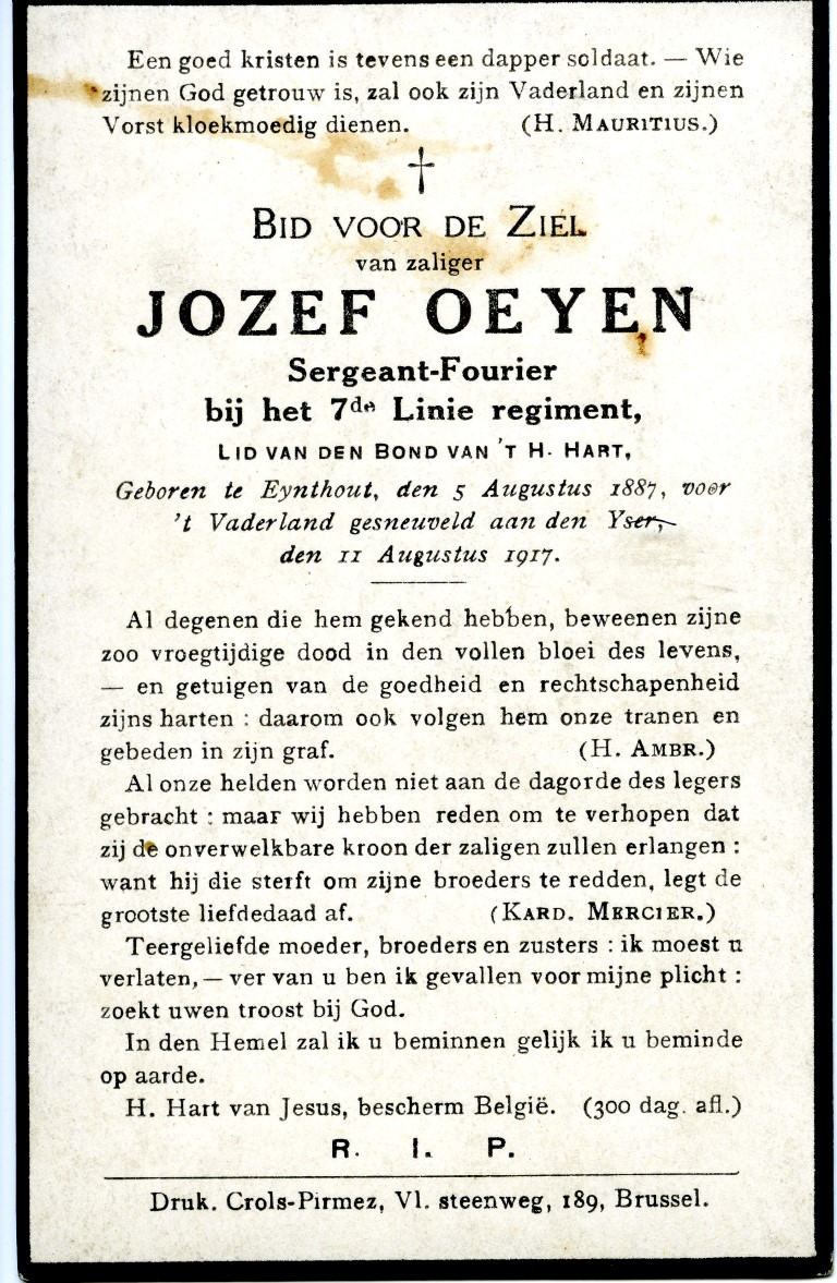 Bidprentje OEYEN Jozef