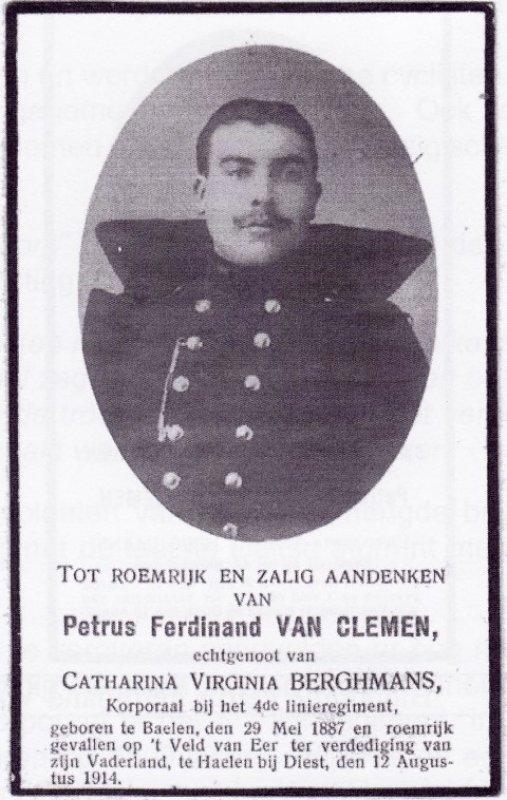 VAN CLEMEN Petrus Ferdinand